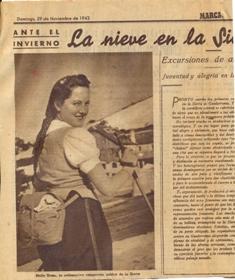 Molly Eraso, en la nieve de Guadarrama 1942