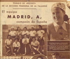 Molly Eraso, equipo de hockey sobre hierba, campeona de España 1942