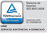 sello ISO 9001:2008 UNE Domicilio